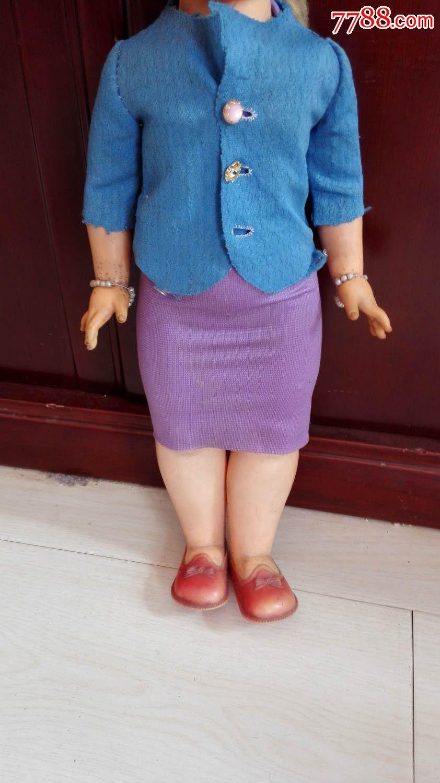 v特色特色收藏六七十年代民族黑脸胶皮女娃娃经典高50厘米太仓娃娃玩具图片