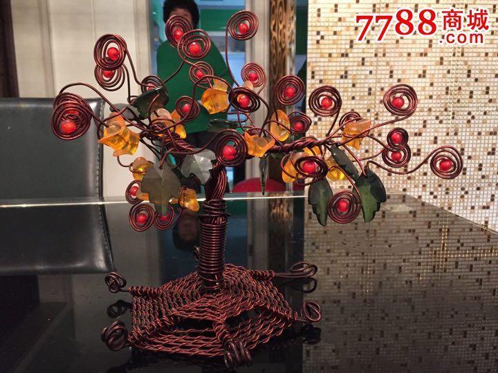 八十年代纯手工编紫铜丝发财树