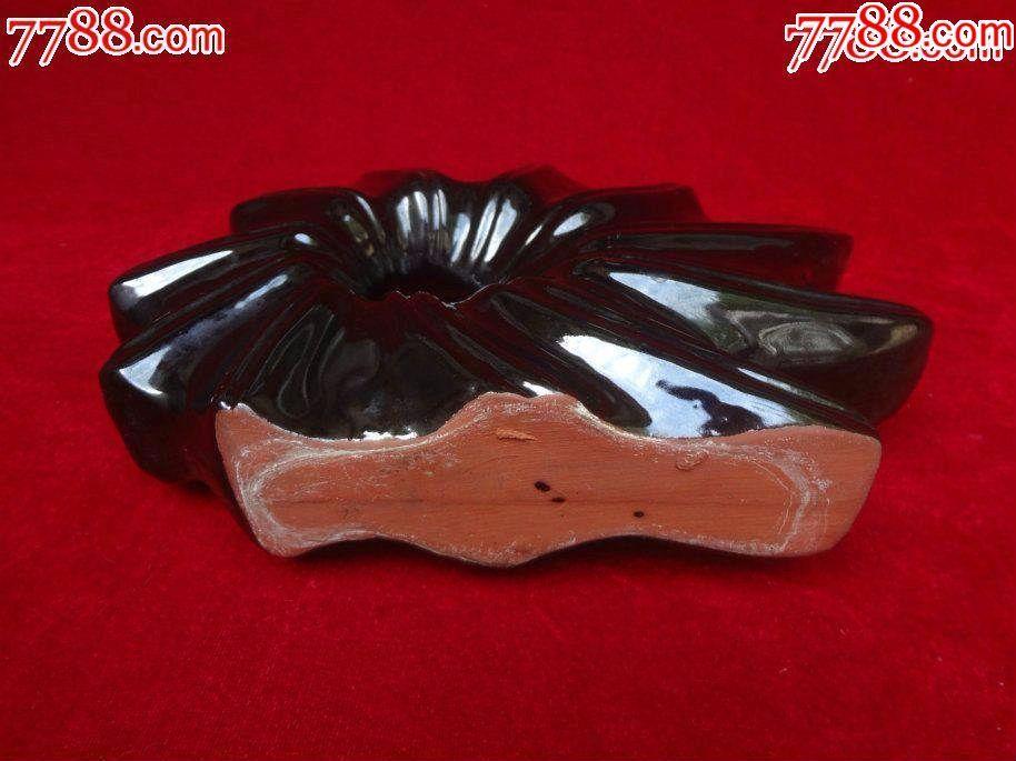 造型精致獨特的黑釉紫砂老花插擺件,釉色非常滋潤亮麗的老紫砂插花瓶,精美_價格128元_第7張_