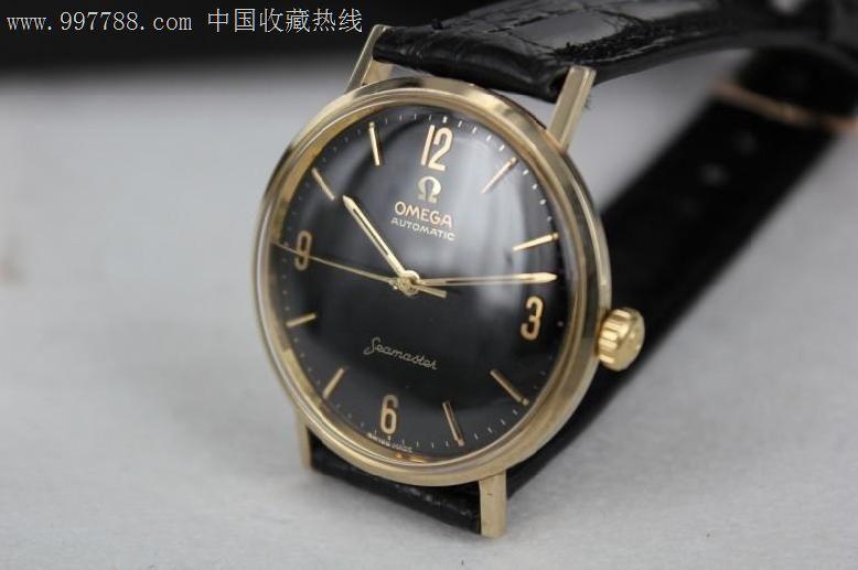 14k黄金实金原装黑盘欧米茄大海马自产550自动图片