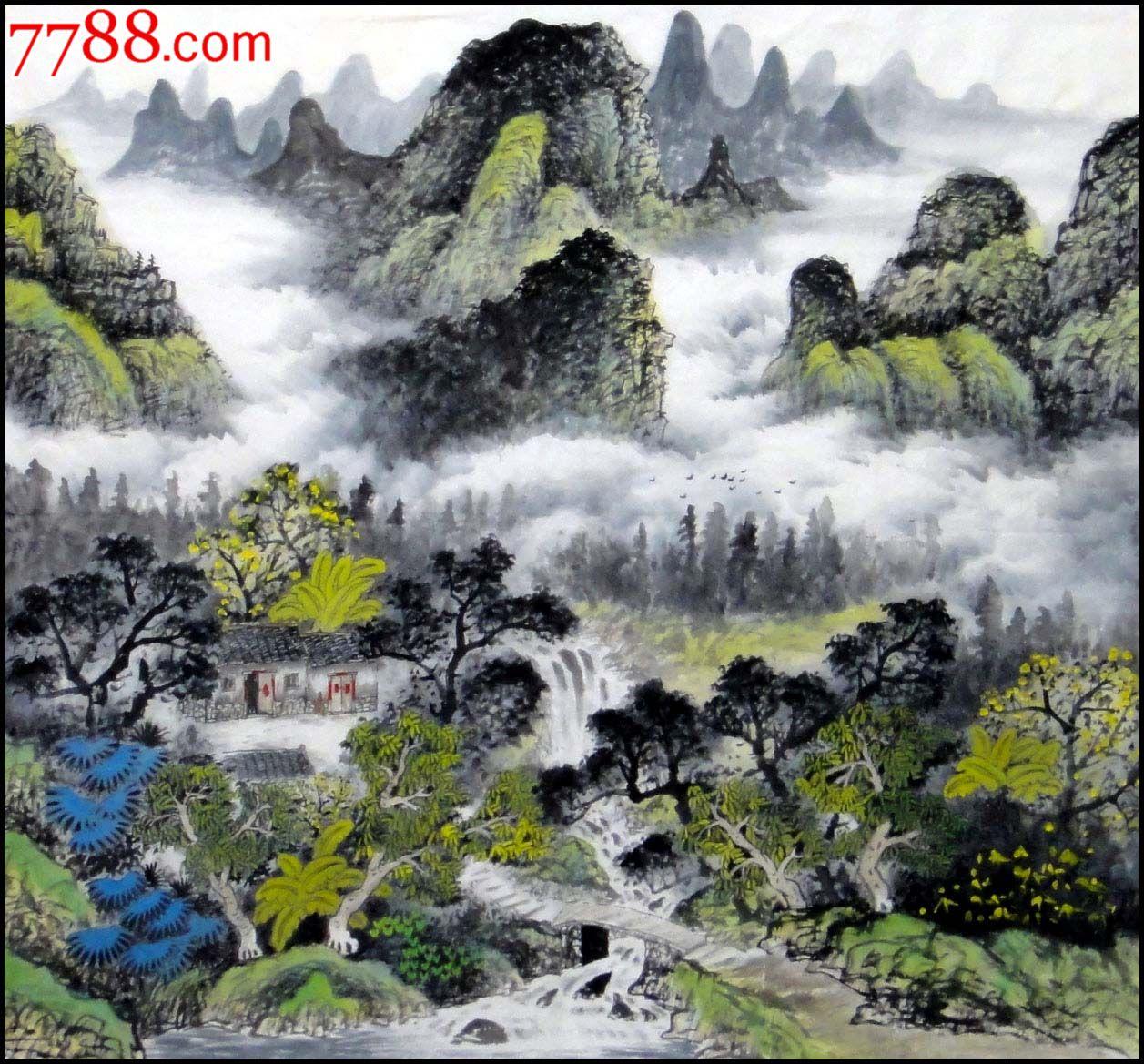 刘海东六尺斗方山水画