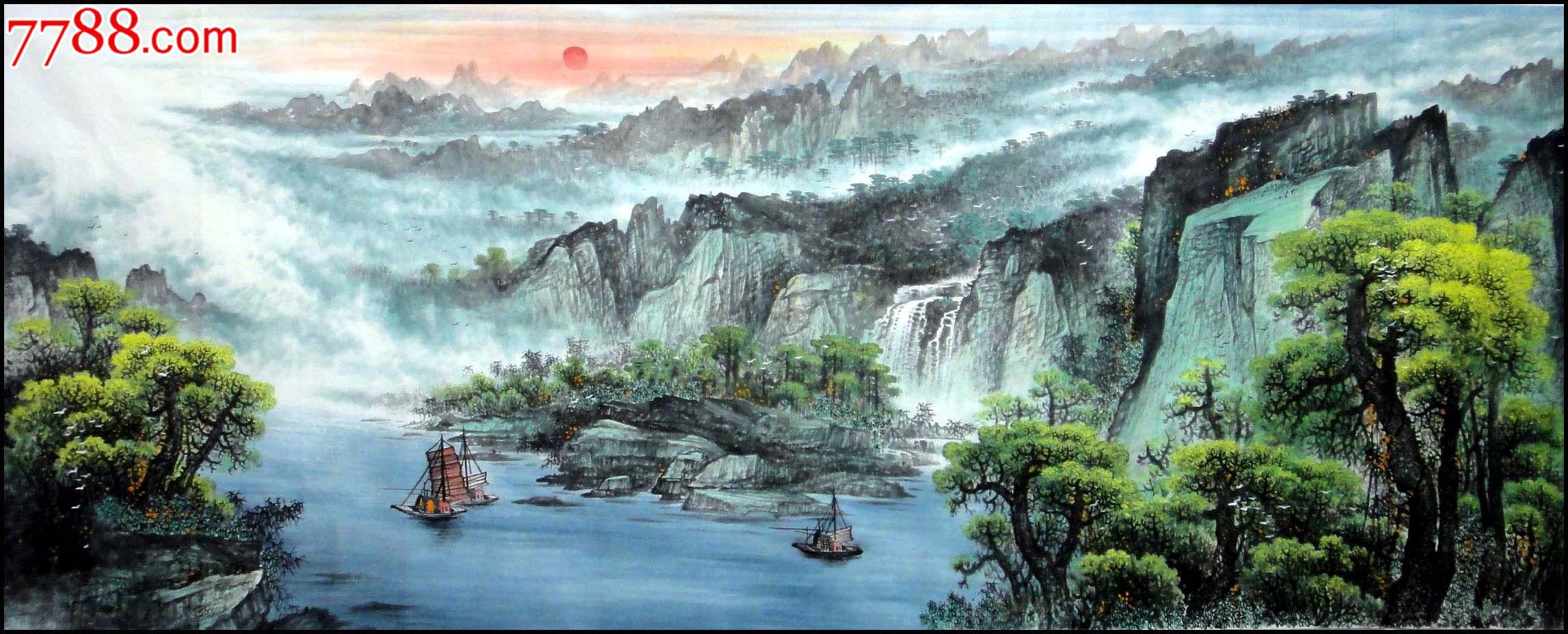 实力派画家林雨泽精品大丈二水墨山水画[源远流长]图片