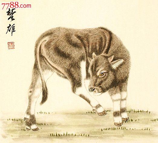 """中国美协会员,广东省美协常务理事""""方楚雄""""工笔动物生肖《牛》"""