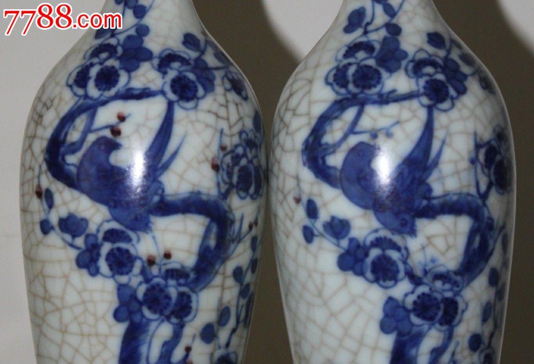 清早期花鸟柳叶瓶一对_青花瓷_吾藏天下【7788收藏图片